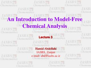An Introduction to Model-Free Chemical Analysis