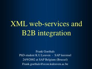 XML web-services and B2B integration