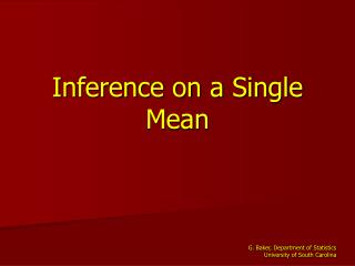 Inference on a Single Mean