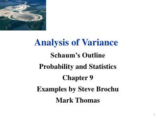 Schaum's Outline Probability and Statistics Chapter 9 Examples by Steve Brochu Mark Thomas