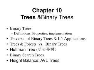 Chapter 10 Trees  &Binary Trees