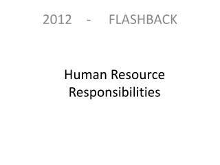 Human Resource Responsibilities