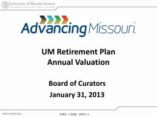 UM Retirement Plan Annual Valuation