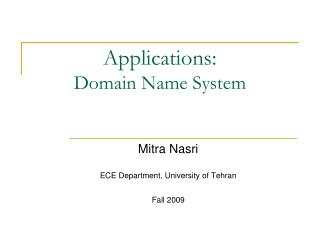 Applications: Domain Name System