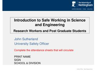 Introduction to Safe Working in Science and Engineering