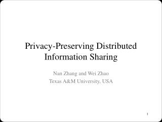 Privacy-Preserving Distributed Information Sharing