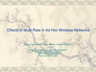Effects of Multi-Rate in Ad Hoc Wireless Networks