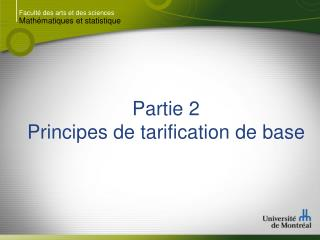 Partie 2 Principes de tarification de base