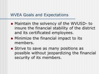 WVEA Goals and Expectations