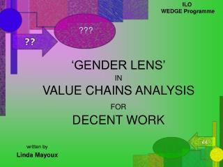 'GENDER LENS' IN VALUE CHAINS ANALYSIS  FOR DECENT WORK