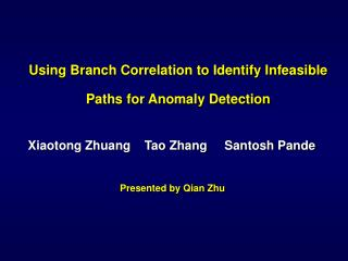 Using Branch Correlation to Identify Infeasible Paths  for Anomaly Detection