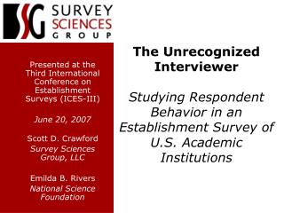 Presented at the Third International Conference on Establishment Surveys (ICES-III) June 20, 2007