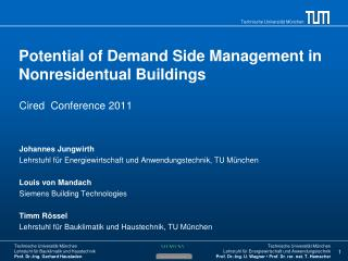 Potential  of  Demand Side Management in  Nonresidentual Buildings