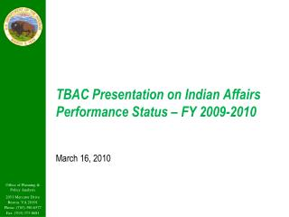 TBAC Presentation on Indian Affairs Performance Status – FY 2009-2010