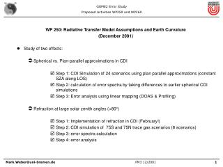 WP 250: Radiative Transfer Model Assumptions and Earth Curvature (December 2001)