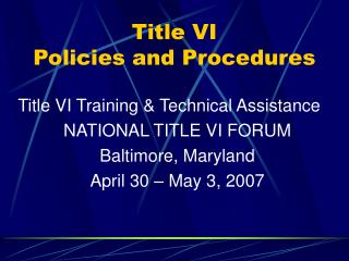 Title VI Policies and Procedures