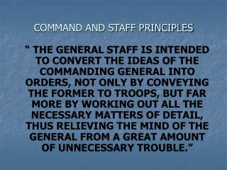 COMMAND AND STAFF PRINCIPLES