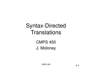 Syntax-Directed  Translations