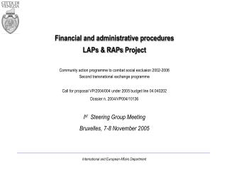 Financial and administrative procedure s LAPs & RAPs Project