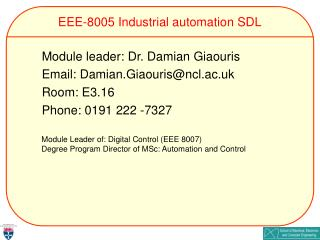 EEE-8005 Industrial automation SDL