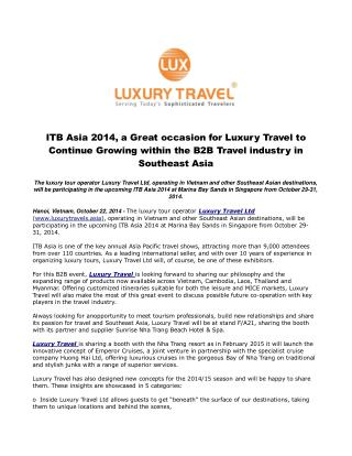 ITB Asia 2014, a Great occasion for Luxury Travel to Continu
