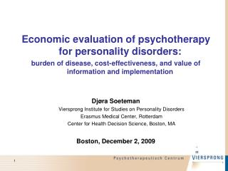 Economic evaluation of psychotherapy for personality disorders: