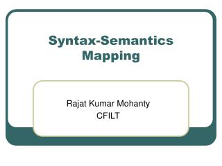 Syntax-Semantics Mapping