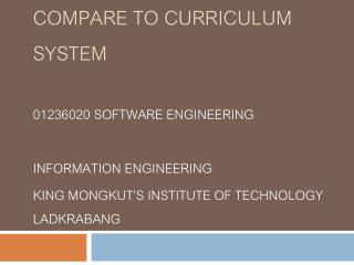 Registered Subject compare to Curriculum System