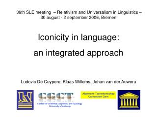 Iconicity in language:  an integrated approach