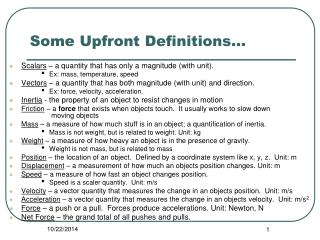 Some Upfront Definitions…
