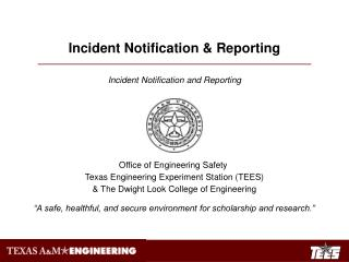 Incident Notification & Reporting