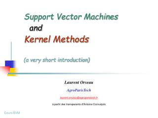 Support Vector Machines and Kernel Methods (a very short introduction)