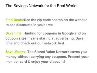 The Savings Network for the Real World