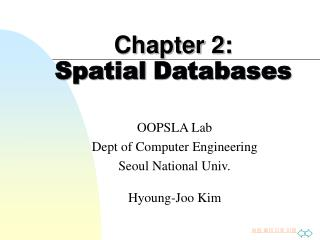 Chapter 2:  Spatial Databases