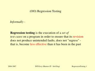 (OO) Regression Testing