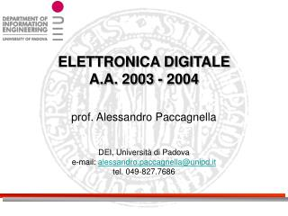 ELETTRONICA DIGITALE A.A. 2003 - 2004
