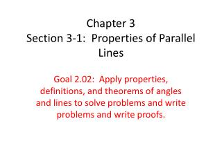 Chapter 3 Section 3-1:  Properties of Parallel Lines
