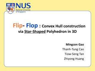 :  Convex Hull construction via  Star-Shaped  Polyhedron in 3D