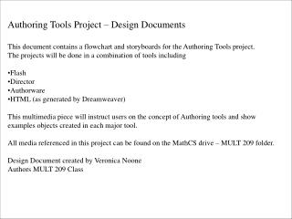 Authoring Tools Project – Design Documents