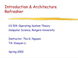 Introduction & Architecture Refresher