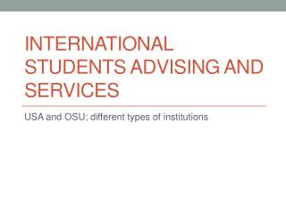International Students Advising and Services
