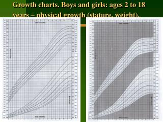 Growth charts. Boys and girls: ages 2 to 18 years – physical growth (stature, weight).