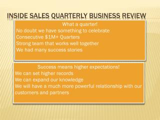 Inside Sales Quarterly Business Review