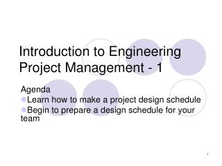 Introduction to Engineering Project Management - 1