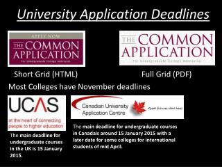 University Application Deadlines