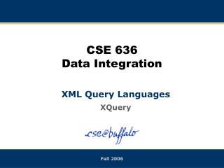 CSE 636 Data Integration