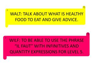 WALT: TALK ABOUT WHAT IS HEALTHY FOOD TO EAT AND GIVE ADVICE.