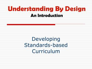 Understanding By Design An Introduction
