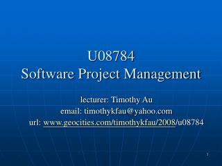 U08784 Software Project Management