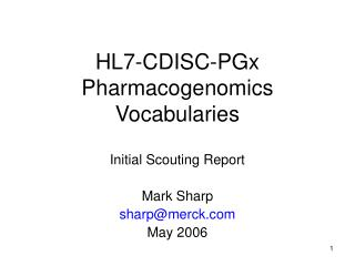 HL7-CDISC-PGx Pharmacogenomics Vocabularies